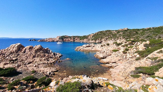 Secluded anchorage on Isola Budelli in La Maddalenas, Sardinia