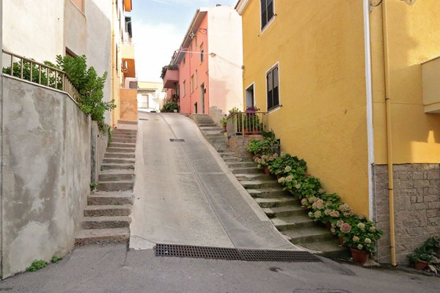 Steep streets in Castelsardo, Italy