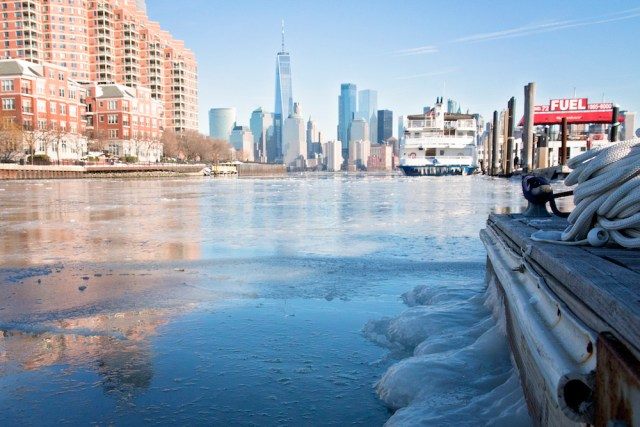 New York City waters are iced over during 2018's bomb cyclone.