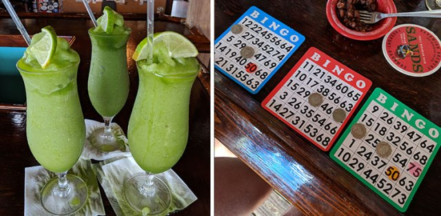 Frozen drinks and Bingo at Cracker P's in Abacos, Bahamas