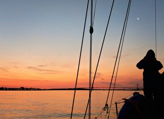 sunset in the Long Island sound
