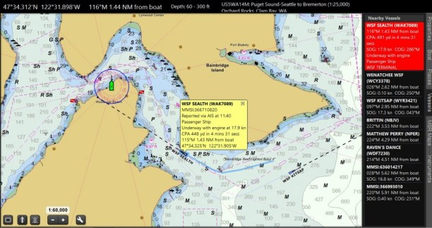 With an AIS receiver you get this display on Coastal Explorer Navigation display.
