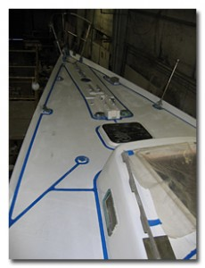 Tape off the alleys you want to see in your non-skid deck