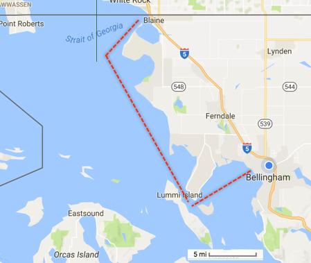 Bellingham, Washington to Blaine, Washington on the Canadian border by boat.