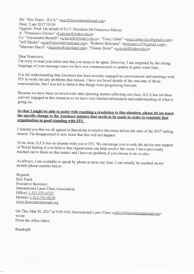 La risposta ILCA a Ettorre
