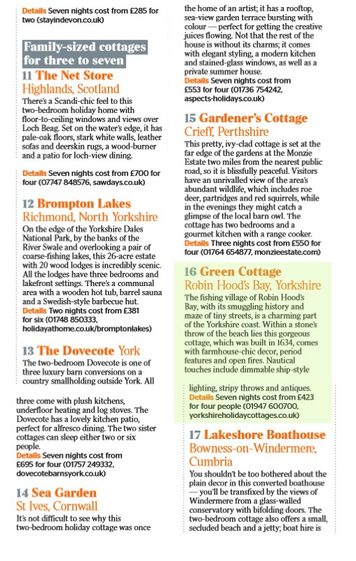 The Times '50 best cottages in Britain' excerpt