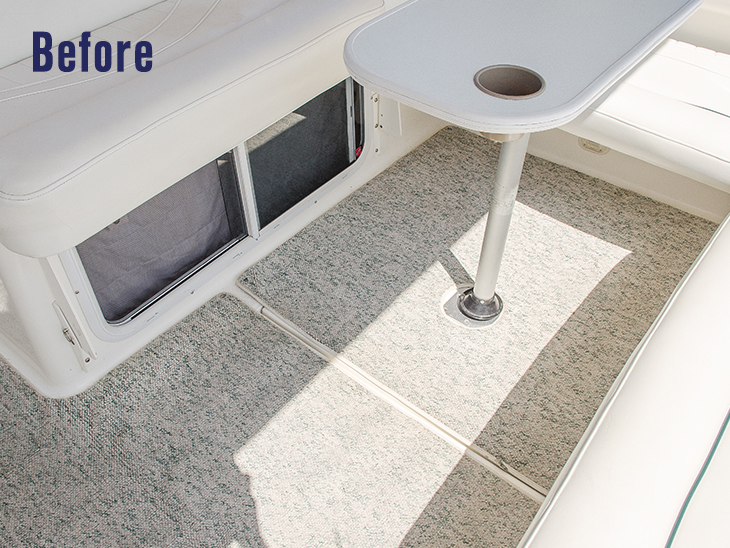 How to Replace Boat Carpet with Woven Flooring Video   Sailrite Boat s flooring before