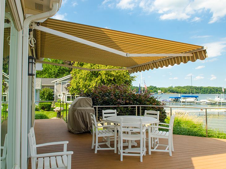 the fabric on a retractable awning