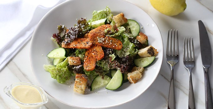 Spicy Buffalo Tempeh Caesar Salad