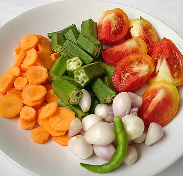 Pappulusu vegetable ingredients - okra, shallots, carrots