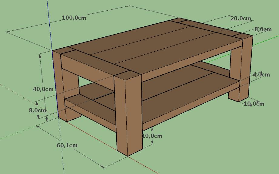 Menuiserie : Table Basse Modelisation Sketchup