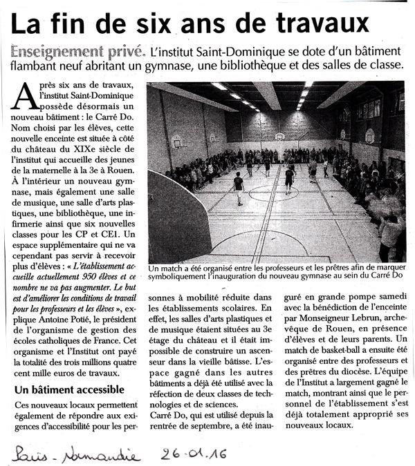 Article Inauguration Paris Normandie 26.01.2016