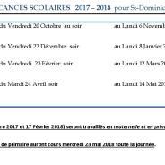 Calendrier vacances scolaires 2017 / 2018