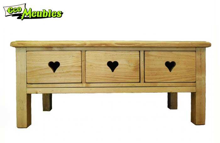 ce meuble est disponible avec des coeurs pour un cote montagne ou avec des boutons bois
