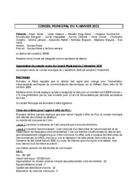 Conseil du 06 janvier 2021