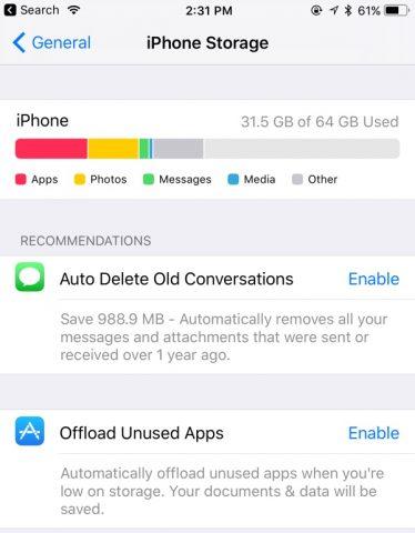 iphone storage ios 11