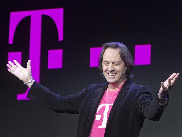 T-Mobile CEO John Legere speaks during a news conference at the 2014 International Consumer Electronics Show (CES) in Las Vegas