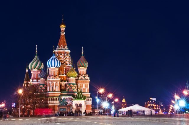 St.Basil Cathedral in Moscow Night view