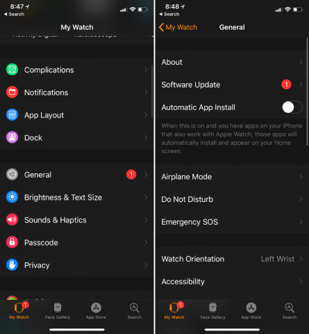 apple watch disable auto app install