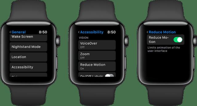 apple watch reduce motion