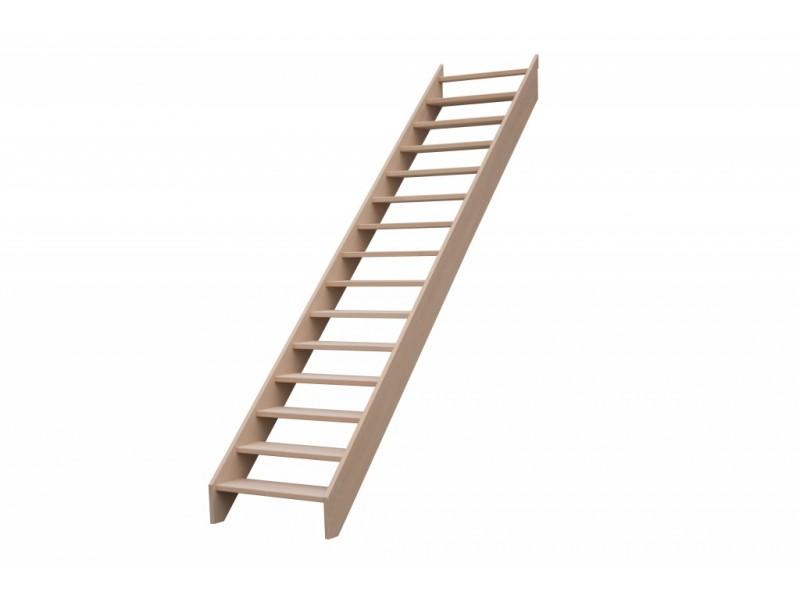 escalier droit en hetre sans contre marche sans rampe hauteur 300 cm