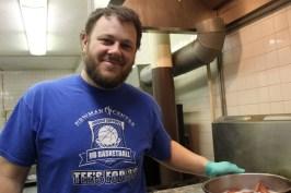 Evan Kolber checking the sausage.