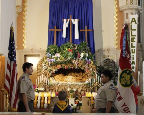 Troop 107 standing guard at the Tomb of Jesus