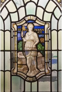 Stained glass in Freemasons Hall, London depicting Temperance, the Four Cardinal Virtues: Prudence. Temperance. Fortitude and Justice (photo courtesy of United Grand Lodge of England)