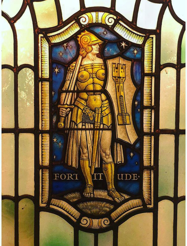 United Grand Lodge of England stained glass window depicting Fortitude, one of the Four Cardinal Virtues (Courtesy of United Grand Lodge of England)
