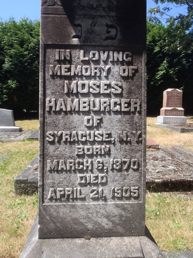 Moses Hamburger, grave inscription, Victoria Jewish Cemetery (photo: St. John's Lodge No. 21 Historian)