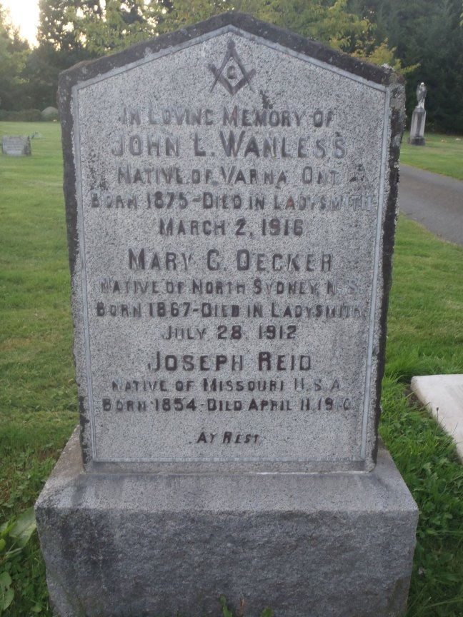 John Wanless, grave inscription, Ladysmith Cemetery (photo: St. John's Lodge No. 21 Historian)