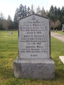John Wanless, grave, Ladysmith Cemetery (photo: St. John's Lodge No. 21 Historian)