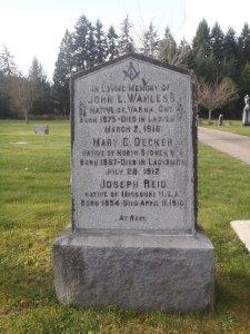 John Wanless, grave, Ladysmith Cemetery (photo: St. John's Lodge No. 21 Historian)