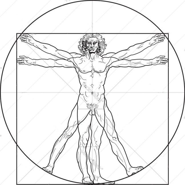 Leonardo da Vinci's Vitruvian Man, taken from Vitruvius' Ten Books On Architecture, Book III, Chapter 1.