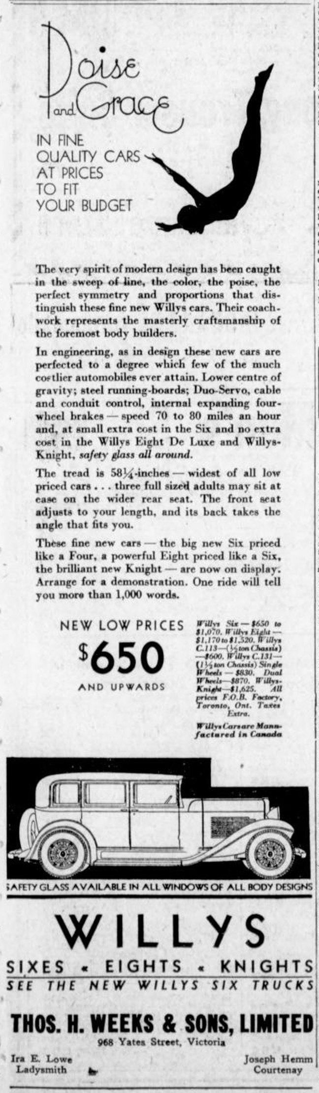 1931 advertisement for Willys cars and trucks which mentions Ira E. Lowe, the Willys dealer for Ladysmith. Ira E. Lowe was a member of St. John's Lodge No. 21 (St. John's Lodge No. 21 Historian collection)