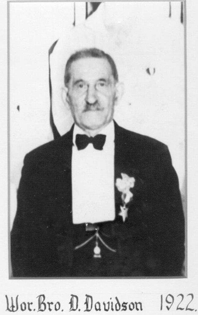 David Davidson as Worshipful Master of St. John's Lodge No. 21, 1922 (photo: St. John's Lodge No. 21)