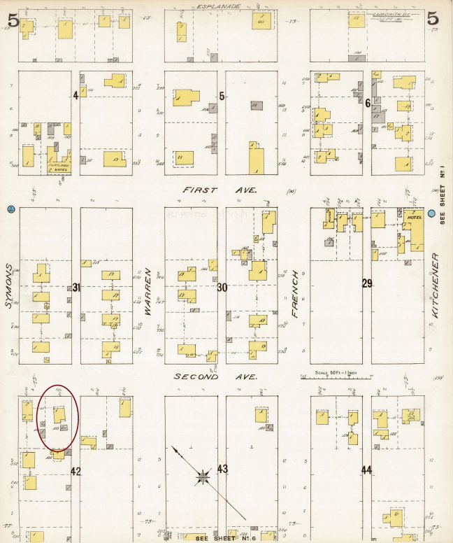 1911 Fire Insurance map showing location of David Davidson house, 1030 2nd Avenue, Ladysmith [photo: Ladysmith & District Historical Society]
