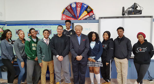 Carlton Highsmith visited SMPA to discuss college scholarship possibilities.