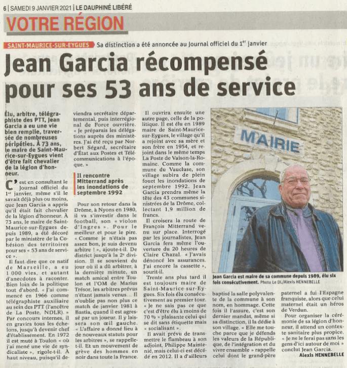 Jean Garcia récompensé pour ses 53 ans de service - Le Dauphiné Libéré