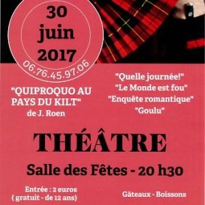 30 JUIN 20h30 – Théâtre «QUIPROQUO AU PAYS DU KILT»