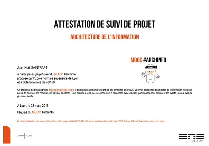 Les Attestations du MOOC Architecture de l'Information