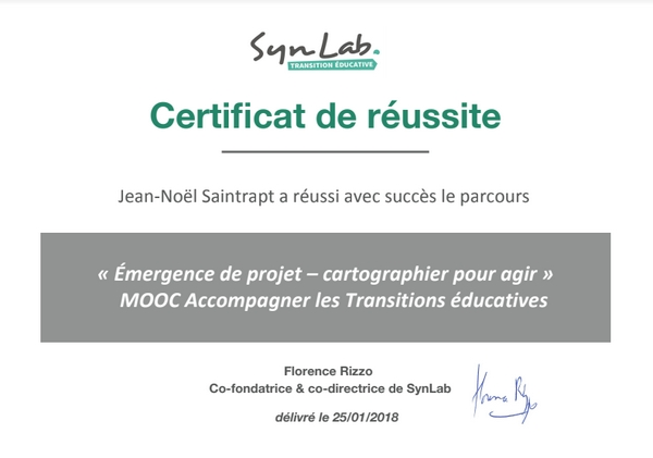 """Certificat de réussite au parcours """"Émergence de projet - cartographier pour agir"""""""