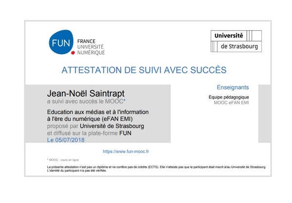 Attestation du MOOC Education aux médias et à l'information à l'ère du numérique (eFAN EMI)