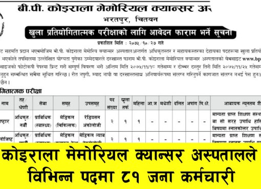 Job Vacancy BP Koirala Memorial Cancer Hospital Job Vacancy, BP Koirala Memorial Cancer Hospital, Health Job Vacancy, CMA Job Vacancy, AHW Job Vacancy, ANM Job Vacancy, HA Job Vacancy, Staff Nurse Job Vacancy, Job Vacancy in nepal, Nepal Job Vacancy, Cma, Anm, HA, Health Assistance, Staff nurse