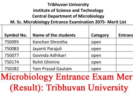 MSc Microbiology Entrance Exam Merit List (Result): Tribhuvan University