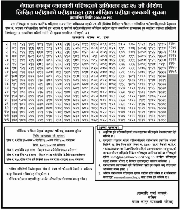 Nepal Bar Council (नेपाल कानुन व्यवसायी परिषद ) publishes a notice regarding the 27th special written examination result for the advocate level.