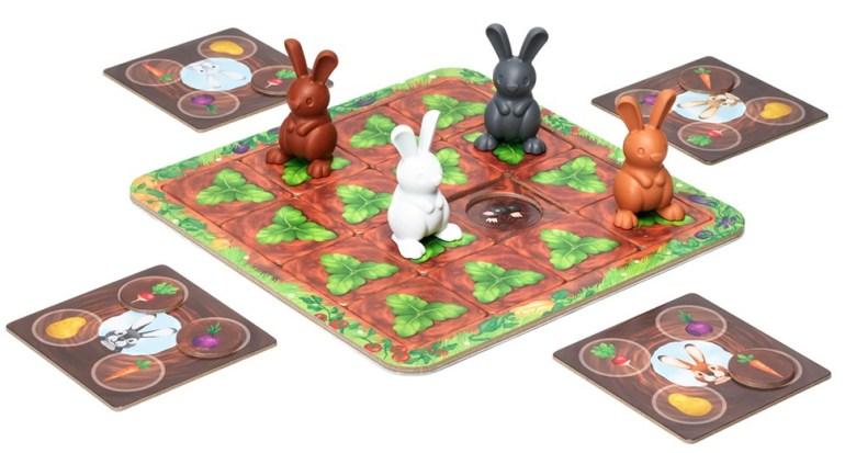 Le matériel tout mignon de Surprises dans la Potager, un jeu Smart Games