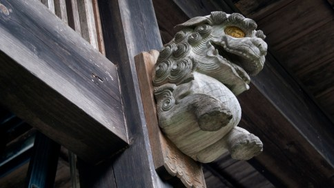 おお珍しい柱の木の狛犬