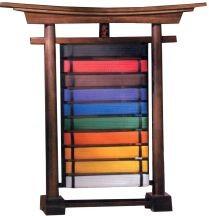 accessories item acc 7012 a1 belt rack 10 level table top torii gate rank belt display rack wood 10 belt unit class sak 01
