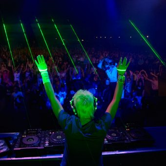 tokyo dj playing to the crowd at a nightclub